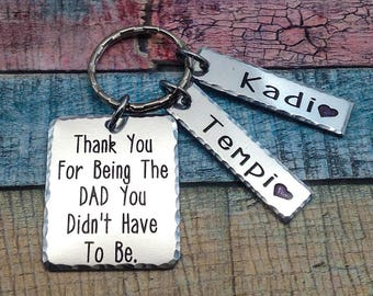Stepdad Gift, Adoption Gift, Blended Family Gift, Step dad key ring, Adoption keychain, Step Daughter Gift to Dad, Adoptive Foster Parent