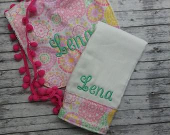 Burp cloth set,personalized burp cloth,monogrammed baby bib,girl burp cloth/bib set, baby shower gift,girl baby gift,personalized baby gift