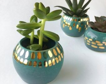 Teal and Gold Planter, Plant Pot, Modern Ceramics, Hostess Gift, Mother's Day Gift