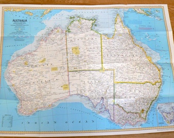 1979 Vintage Map of Australia National Geographic Society Maps