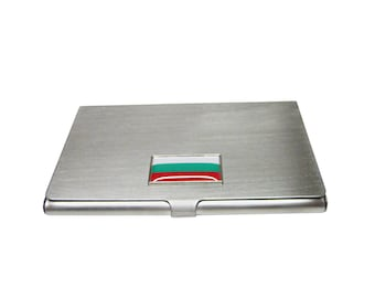 Thin Bordered Bulgaria Flag Pendant Business Card Holder
