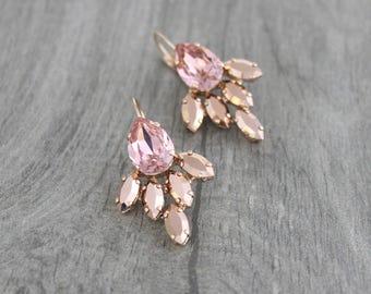Rose Gold earrings, Bridal earrings, Bridal jewelry, Crystal cluster, Wedding earrings, Wedding jewelry, Swarovski earrings, Blush earrings