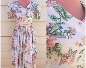 Pastel garden 80s floral party dress size medium