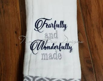 Personalized Baby Burp Cloth, Fearfully and wonderfully made, embroidered burp cloth, set of 1