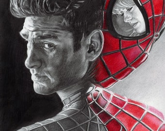 Drawing Print of Andrew Garfield as Spider-Man and Peter Parker with Emma Stone as Gwen Stacy