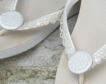 BEACH WEDDING Flip Flops, Pearl Trim/Pearl Circle Buttons, For the Bride, Personalized, White or Ivory, Wrapped Straps, Comfy Flats or Wedge