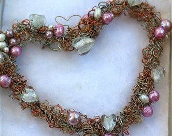 mothers day heart wreath  pink white pearls dichoric glass wedding bridal romantic  OOAK gift mother's day