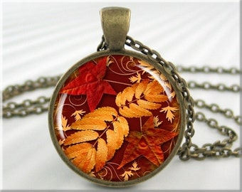 Autumn Leaves Necklace Fall Season Leaves Fall Colors Art Collage Resin Charm Picture Jewelry Autumn Art Charm Gift Under 20 (068RB)