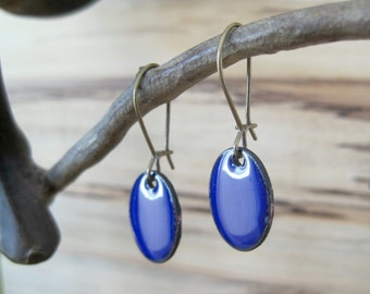 Cobalt Blue Drop Earrings, Blue Dangle Earrings, Copper Enamel, Chandelier Earrings