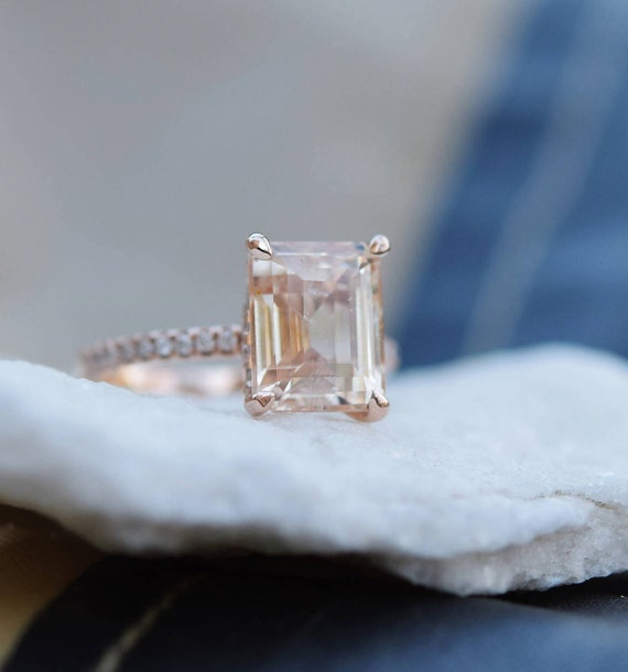 Engagement Ring Rose gold engagement ring Champagne Sapphire ring Blake ring  emerald cut 14k rose gold diamond ring 5.4ct sapphire ring