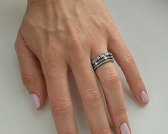 Set of 3 Bands, Gunmetal Stack, Stacking Rings, Wedding Bands, Stone Ring, Cubic Zirconia Ring