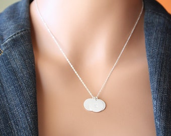 THREE Initial disc (1/2 inches) All Sterling Silver , engraved necklace, modern everyday wear, with Option to choose material , perfect gift
