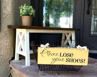 Shoe Basket Sign - Please Lose Your Shoes - Wood Subway Sign - Remove Your Shoes Sign - Clean Carpet - Shoe Basket Sign - Shoes