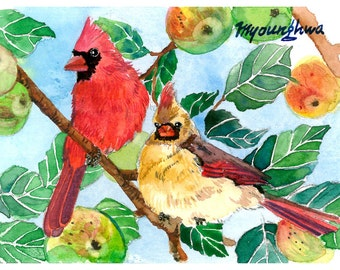ACEO Limited Edition 2/25-A cardinal pair in a crab apple tree