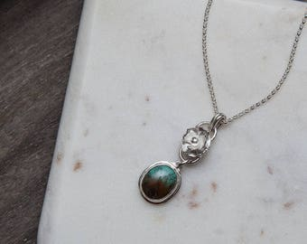Turquoise Flower Necklace | Sterling Silver | One of a Kind