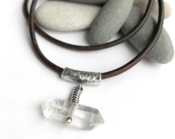 Large Double Terminated Point Quartz Crystal Sterling Silver Pendant Necklace Leather Cord