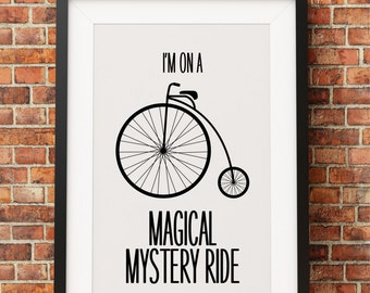 Magical Mystery Bike Ride - Jpeg - A4 + 8x10 - INSTANT DOWNLOAD - Digital Print - Wall Art - Printable Poster
