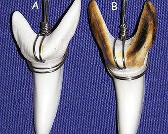 "Real Monster Mako Shark Teeth/Tooth Pendents (1-1/2"") Tied with Stainless Wire/Natural/Burnt Gloss Finish ~ Select A - B"