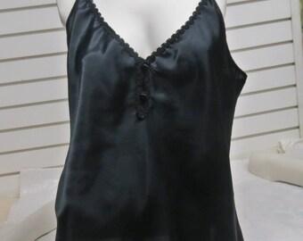 Frenchmaid Black Liquid Satin Vintage  Camisole   Size 40 #656