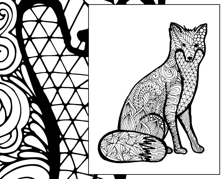 Fox Coloring Sheet Animal Pdf Zentangle Adult