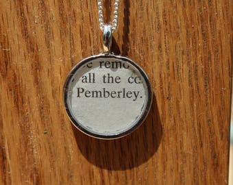 Pemberley - Pride and Prejudice Book Page Pendant Necklace - Jane Austen Literary Jewelry