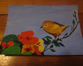 Warbler with Nasturtiums, greeting card