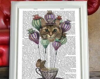 Alice in wonderland poster Alice in Wonderland Art Mad hatter tea party - Cheshire Cat Hot Air Balloon - Alice hot air balloon Nursery art