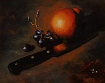 tangelo & knife original oil painting