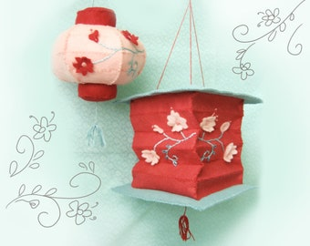 DIY felt embroidered Lanterns PDF pattern Party baby shower chinese lunar new year Decorations cherry blossoms
