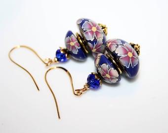 Polymer flowers Pink-Purple and cobalt blue earrings