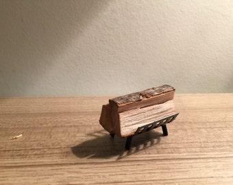 Dollhouse miniature 1:12  firewood doll house fireplace wood