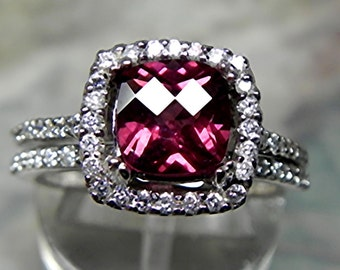 AAAA Natural Rhodolite garnet Cushion cut   7x7mm  1.76 Carats   14K white gold Halo Bridal set with ..45 carats of diamonds HB88  1530