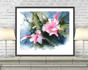 Art Print Giclee, Watercolor Flower,Pink Art Print, Flower Watercolor Painting, Floral Art Print,Abstract Flower Art, Morning Glory,5x7,8x10