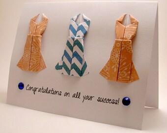 Origami Dress Congratulatory card (Orange Blue)