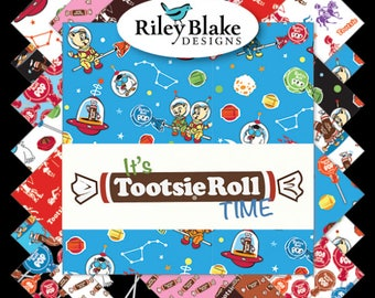 Candy Fabric It's Tootsie Roll Time Bundle by Riley Blake, Choose Your Bundle Size/fat quarter bundle/Complete Collection/18 Fabrics