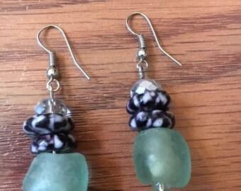 African Krobo Powder Glass and Gemstone Earrings Beads African Glass Beads Earring