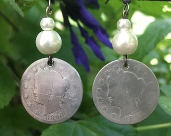 "Handmade Liberty ""V""Nickel Earings"