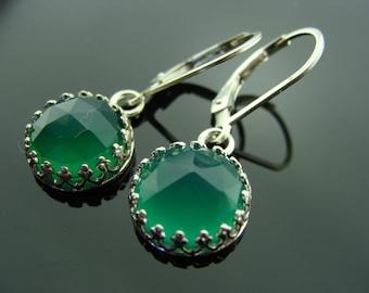 Bezel Set Green Onyx 925 Sterling Silver Leverback Earrings
