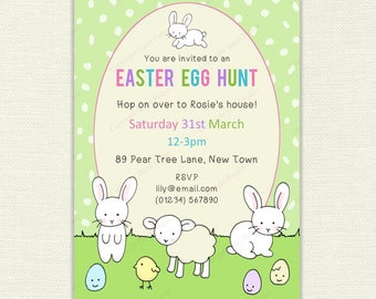 Cute Easter Party Invitation - white rabbits, lamb, chick and eggs design with custom text, Egg Hunt / Easter birthday invite - IN047