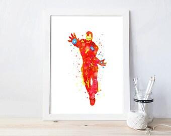 ironman, watercolor, poster, avengers, printable, avengers nursery, avengers birthday, superhero birthday, party decor, superhero nursery