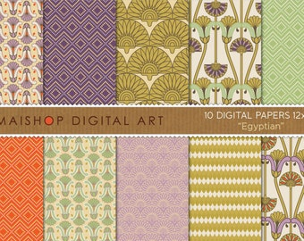 Digital Paper 'Egyptian' Cream, Purple, Lilac, Gold, Green, Orange... Ornament Floral, Geometric Designs for Cards, Invites, Crafts...