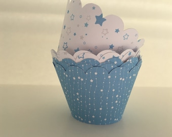 Wish upon a star Cupcake Wrappers (6 white & 6 blue)