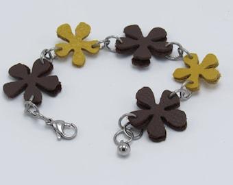 Leather Carnation Bracelet - Various Colors