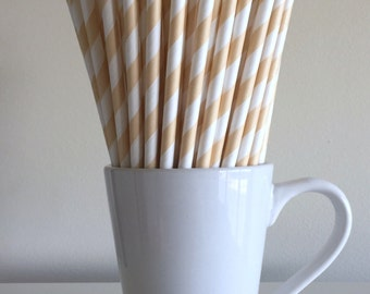 Cream Paper Straws Ivory, Beige, Tan Striped Party Supplies Party Decor Bar Cart Cake Pop Sticks Mason Jar Straws Graduation