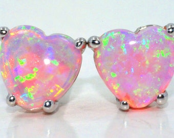White Gold Pink Opal Heart Stud Earrings .925 Sterling Silver Rhodium Finish