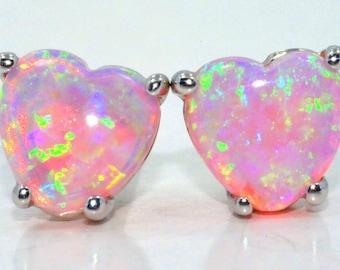 Pink Opal Heart Stud Earrings .925 Sterling Silver Rhodium Finish