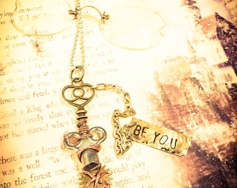 Steam Punk necklace, hand stamped Be You, gears, key, gears, copper, retro, recycled