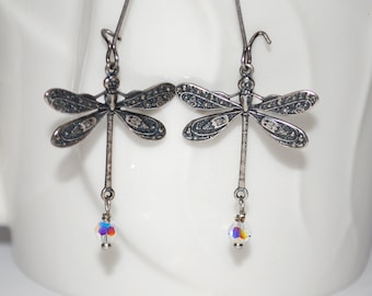 Antique silver dragonfly earrings with crystal, dragonfly earrings, nature inspired, gift