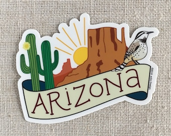 Arizona Vinyl Sticker / Monument Valley / Hand Lettered Waterproof Sticker / Laptop Sticker / Arizona Travel Memento / Saguaro Cactus