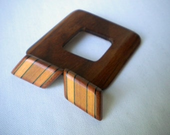 Vintage Wooden Brooch and Earring Set